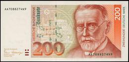 200 Deutsche Mark, Bundesbanknote, 2.1.1989, Serie AA7088274N9, Ro. BRD-39a, Erhaltung I., Katalog: BRD-39a I - [ 7] 1949-… : RFD - Rep. Fed. Duitsland