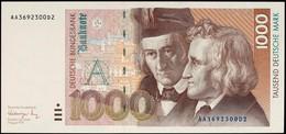 1000 Deutsche Mark, Bundesbanknote, 1.8.1991, Serie AA3692300D2, Ro. BRD-46a, Erhaltung I., Katalog: Ro.BRD-46a I - [ 7] 1949-… : RFD - Rep. Fed. Duitsland