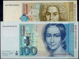 50 Und 100 Deutsche Mark, Bundesbanknoten, 2.1.1996, 50 Mark Serie DG1982560K3 Ro. BRD-53a Und 100 Mark Serie GA4694846Y - [ 7] 1949-… : RFD - Rep. Fed. Duitsland