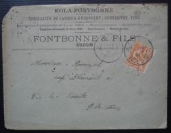 Dijon 1901 Kola-Fontbonne Spécialité De Cassis & Guignolet Conserves Vins, Lettre Pour Vic Le Comte - 1877-1920: Semi Modern Period