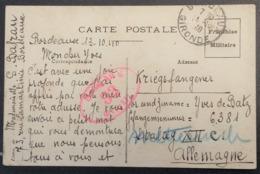 Carte De Franchise Militaire De Bordeaux Pour Prisonnier De Guerre STALAG XII C Wiebelsheim Octobre 1940 - Marcophilie (Lettres)