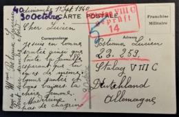 Carte De Franchise Militaire De Pont-sur-Sambre Pour Prisonnier De Guerre STALAG VIII C Zagan Pologne Septembre 1940 - Marcophilie (Lettres)