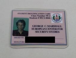 Germany Allemagne Deutschland Marshall Center Garmisch-Partenkirchen Student Identity Card Carte D'identité D'étudiant - Autres Collections