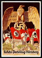 1936, Reichsparteitag Nürnberg Mit Ansicht Hoheitsadler U. Div. Fahnen, Color, Echt Gelaufene Color-Karte Mit Entspr. Ta - Germania