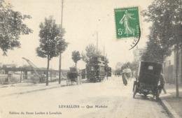 CARTE POSTALE ORIGINALE ANCIENNE : LEVALLOIS PERRET LE QUAI MICHELET  ANIMEE  HAUTS DE SEINE (92) - Levallois Perret