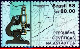 Ref. BR-2127A BRAZIL 1988 SCIENCE, ANTARCTIC RESEARCH, MAPS,, MICROSCOPE, STAMP OF S/S MNH 1V Sc# 2127 - Brasile