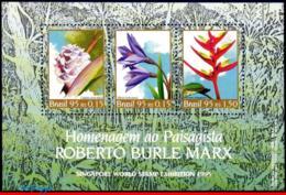 Ref. BR-2547 BRAZIL 1995 FLOWERS, PLANTS, ROBERTO BURLE MARX,, BOTANIST, MI# B98, S/S MNH 3V Sc# 2547 - Blocks & Sheetlets