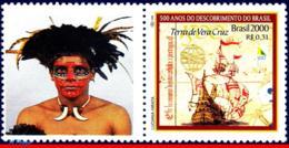 Ref. BR-2739-1 BRAZIL 2000 HISTORY, DISCOVERY OF BRAZIL,SHIPS, , BOATS, MI# 3006, PERSONALIZED MNH 1V Sc# 2739 - Barche