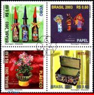 Ref. BR-2884 BRAZIL 2003 ART, RECYCLING ENVIRONMENT,, MERCOSUL ISSUE, MI# 3307-10, SET MNH 4V Sc# 2884 - Kunst
