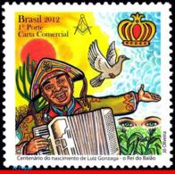 Ref. BR-3236 BRAZIL 2012 FAMOUS PEOPLE, LUIZ GONZAGA, SINGER,, BIRD, MUSIC, MASONRY, KING BAIAO, MNH 1V Sc# 3236 - Freimaurerei