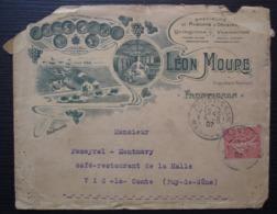 Frontignan 1907 Hérault Léon Moure Muscats Quinquinas Vermouths Enveloppe Illustrée (abimée) - Marcofilie (Brieven)
