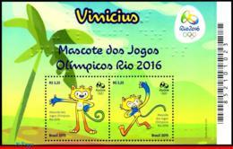 Ref. BR-3319 BRAZIL 2015 - OLYMPIC GAMES, RIO 2016,, MASCOT VINICIUS, S/S MNH, SPORTS 2V Sc# 3319 - Sommer 2016: Rio De Janeiro