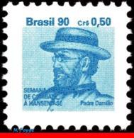 Ref. BR-RA26 BRAZIL 1990 HEALTH, HANSEN DISEASE, LEPROSY,, HANSENIASIS,FR.JOSEPH DAMIEN,MI# Z27,MNH 1V Sc# RA26 - Brasile
