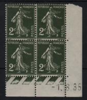 FRANCE  Coin Daté **  Type Semeuse 2c Vert Foncé  Yvert 278  -1.8.35 Neuf Sans Charnière - Coins Datés