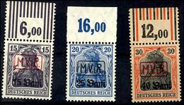 15 B. Bis 40 B. Freimarken, Oberrandsatz, Kompletter Satz Mit Drei Werten, Tadellos Postfrisch, Höchstwert Gepr. Hey BPP - Roemenië