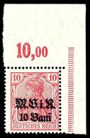 10 Bani Auf 10 Pfg Germania, Karminrot, Aufdruck Matt, Eckrandstück Oben Rechts, Tadellos Postfrisch, Gepr. Hey BPP, Mi. - Roemenië