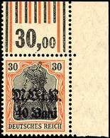 40 B. Auf 40 Pfg Germania, Eckrandstück Oben Rechts, Walzendruck 1'4'1 / 1'5'1, Tadellos Postfrisch, Gepr. Hey BPP, Mi.  - Roemenië