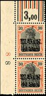 40 B. Auf 40 Pfg Germania, Senkr. Paar Vom Eckrand Oben Links, Walzendruck 1'4'1 / 2'3'2, Tadellos Postfrisch, Mi. 110.- - Roemenië