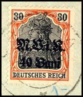 40 B. Auf 30 Pfg., Aufdruck Rußig, Gestempelt Auf Briefstück, Signiert Wasels BPP, Mi. 150.-, Katalog: 7b BS - Roemenië