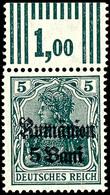 5 B Auf 5 Pfg Germania, Schwärzlichgrün, Oberrandstück, Walzendruck 3'7'3, Tadellos Postfrisch, Gepr. Hey BPP, Mi. 70.-, - Roemenië