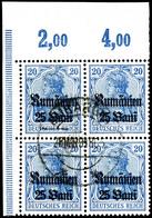 25 Bani Auf 20 Pfennig Dunkelultramarin, Gestempelter Viererblock Aus Der Linken Oberen Bogenecke, Zentrisch Gestempelt, - Roemenië