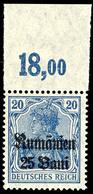 25 B. Auf 20 Pfg Germania, Dunkelultramarin, Oberrandstück, Plattendruck, Tadellos Postfrisch, Gepr. Hey BPP, Mi. 140.-, - Roemenië