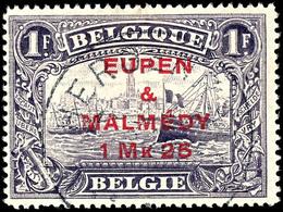 """1,25 Mark Auf 1 Francs, Gezähnt 15:15, Gestempelt, Kurzbefund Dr. Hoffner BPP """"echt, Einwandfrei"""", Mi.250,-, Katalog: 7C - Eupen Und Malmedy"""