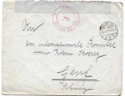 Lettre De Aachen (Allemagne) Avec Censure Belge Bande Et Cachets Spéciaux (13-8-1919) - Guerre 14-18