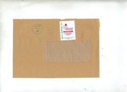 Lettre Flamme Double Vague Sur Timbre à Moi Mutualite Française Normandie - Storia Postale