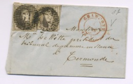 10c X 2  Sur Lettre.  GRAMMONT 1854 - 1851-1857 Medallions (6/8)