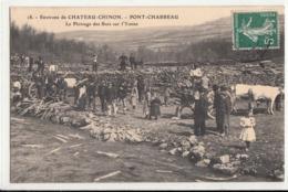 CPA- CHATEAU-CHINON - PONT-CHARREAU Le Flottage Des Bois Sur L'Yonne-1909-dép58-2scans -TBE - Chateau Chinon
