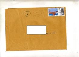 Lettre Flamme Bleue Double Vague Sur Timbre En Ligne Bretagne Theme Phare - Mechanical Postmarks (Advertisement)