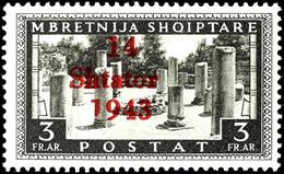 """3 Fr. Freimarke Mit Aufdruckfehler VI """" '1' Von '1943' Verkürzt"""", Tadellos Postfrisch, Gepr. Dr. Rommerskirchen BPP, Mi. - Albania"""