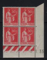 FRANCE  Coin Daté ** Type Paix 50c Rouge Yvert 283  -9.1.35 Neuf Sans Charnière - Coins Datés