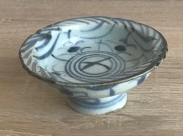 Antique Coupe Piédestal En Céramique Bleue & Blanc - Chine, Dynastie Ming/Qing - AH3 - Art Asiatique