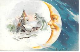 Moon, Mond, La Lune, Church, Kirche, église, Stars, Sterne, étoiles / 1906 - Fantasie