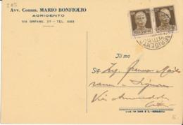 AGRIGENTO 26-12-45 CARTOLINA POSTALE IMPERIALE CENT 30 X 2 - Storia Postale