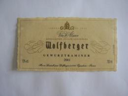 "Etiquette Décollée De La Bouteille : ""Wolfberger, Gewurztraminer 2001"", TB. - Gewurztraminer"