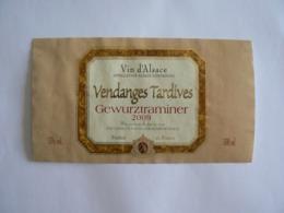 """Etiquette Décollée De La Bouteille : """"Gewurztraminer Vendanges Tardives 2009"""", TB. - Gewurztraminer"""