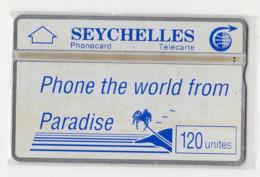 SEYCHELLES Ref MV Cards : SEY-06 120 U Blue Palm & Slogan CN 105H  Année 1991 4000ex - Seychelles