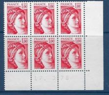 """FR Coins Datés YT 1972 Bloc De 6 """" Sabine 1F. Rouge """" Neuf** Du 17.3.78 - 1970-1979"""