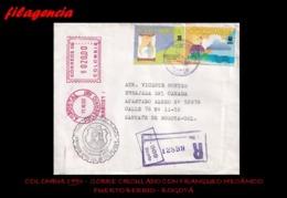 AMERICA. COLOMBIA. ENTEROS POSTALES. SOBRE CIRCULADO 1993. PUERTO BERRÍO-BOGOTÁ. DERECHOS HUMANOS. FRANQUEO MECÁNICO - Colombia