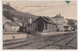 CPA- CHATEAU-CHINON- GARE P,-L-M- Dép58-2scans (trains Voyageurs) - Chateau Chinon