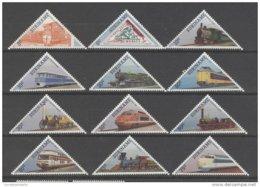 REPUBLIEK SURINAME 1985 ZBL 455-66 SERIE VAN 12 TREINEN POSTFRIS DRIEHOEKZEGELS - Suriname