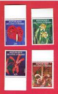 COTE D IVOIRE 1978 ORCHIDEES IVOIRIENNES SERIE NEUVE LUXE ** COMPLETE 462 A . 462 B. 462 C. 462 D. COTE 270 EUROS - Orchideeën