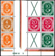 Posthorn, 4+Z+20 Und 6+Z+X+10 (2, Einmal HAN 16006.51 2) Waagerechte Zusammendrucke, Zusammenhängend Aus Markenheftchenb - [7] Repubblica Federale