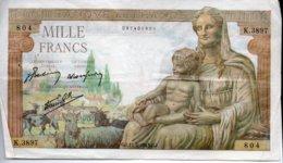 1000 FRANCS  11 - 2 - 1943 - 1871-1952 Antiguos Francos Circulantes En El XX Siglo