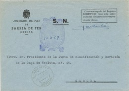 34559. Carta S.N. Franquicia Juzgado De Paz SARRIA De TER (Gerona) 1959. Fechador Sarriá - 1931-Hoy: 2ª República - ... Juan Carlos I
