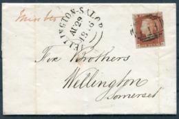1846 GB 1d Red (FK) Wrapper Kendal Cumbria - Wellington Somerset. Missent Wellington Shropshire Salop. 117 Mileage Mark - 1840-1901 (Regina Victoria)