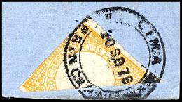 """1 Peseta Gelb, Diagonale Halbierung Auf Briefstück, Klar Gestempelt """"LIMA 20 SB 76"""", Rechts Etwas Berührt, Sonst Gute Qu - Peru"""